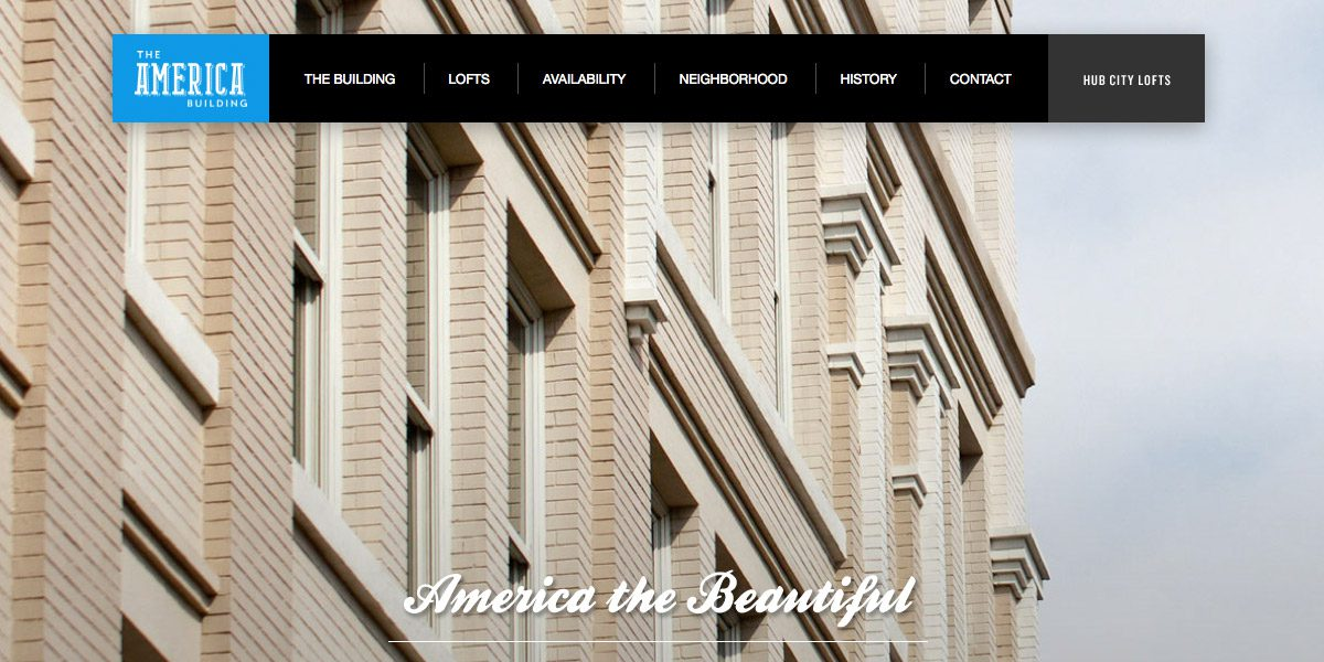 Screen capture of The America Bldg website