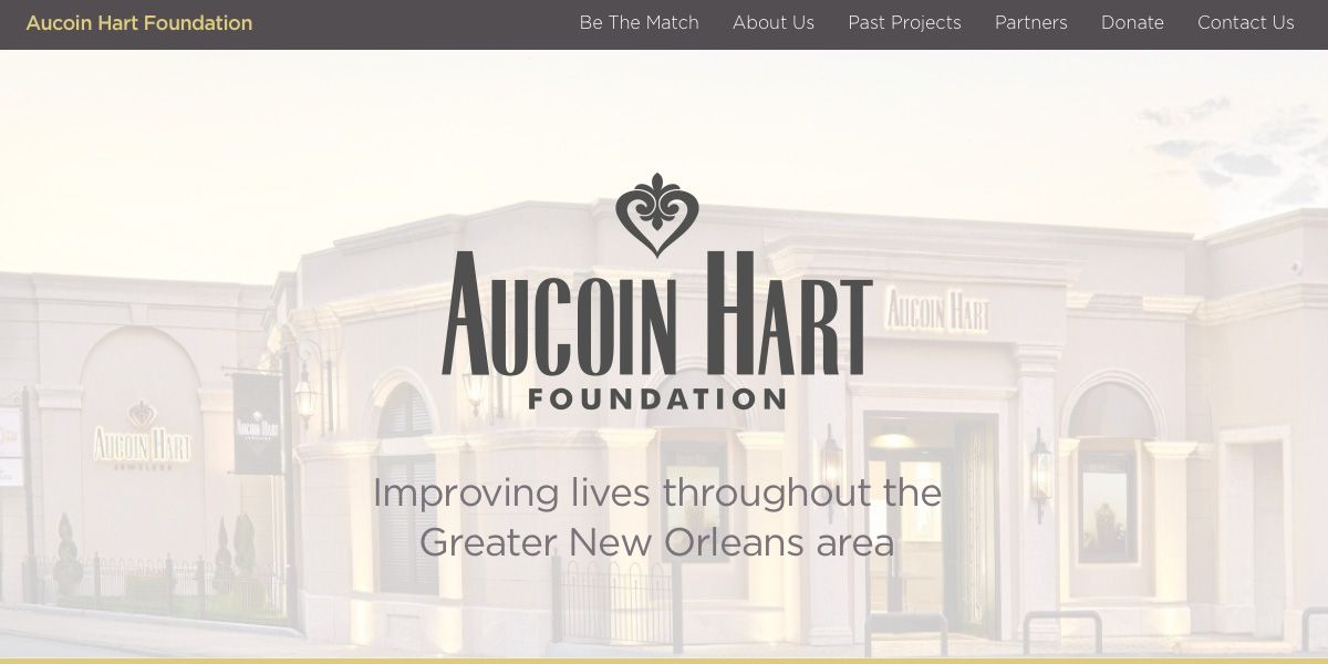 Screen capture of Aucoin Hart Foundation website