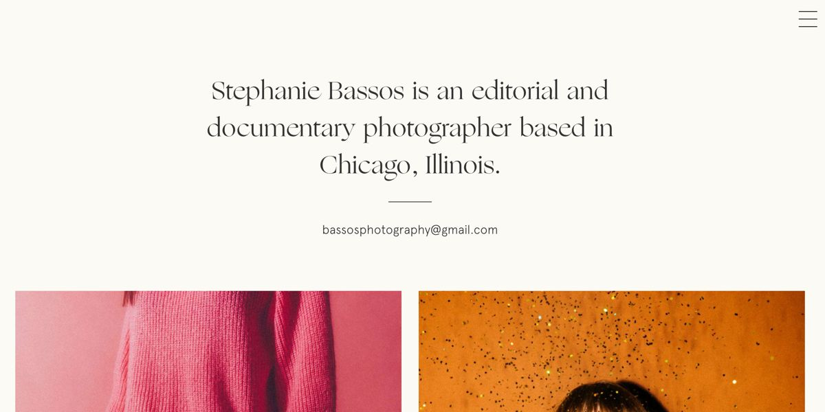 Screen capture of Stephanie Bassos website