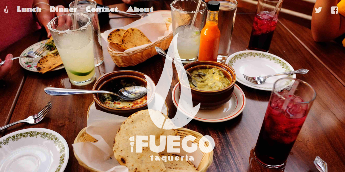 Screen capture of Del Fuego Taqueria website