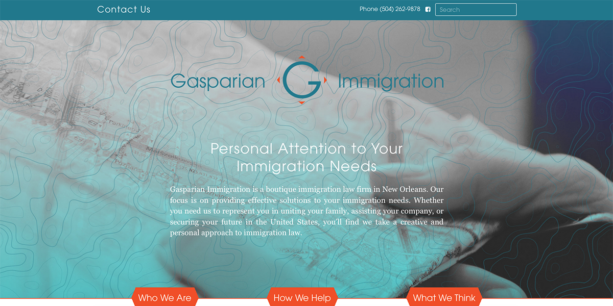 Screen capture of Gasparian Immigration website