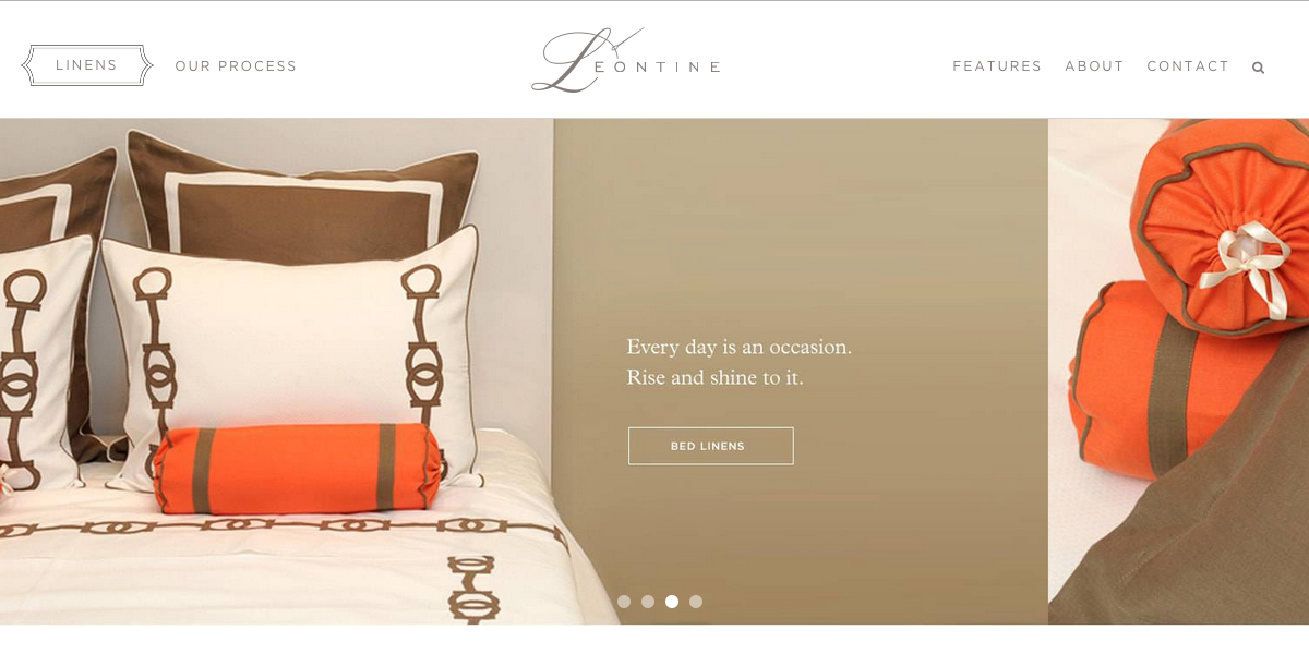 Screen capture of Leontine Linens website